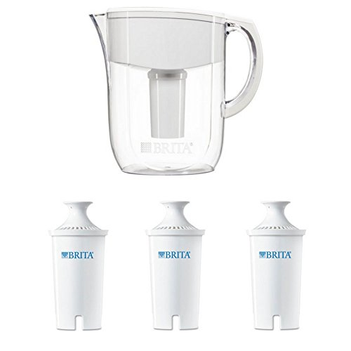 Price comparison product image Brita 10 Cup Everyday BPA Free Water Pitcher with 1 Filter, White and Brita Water Filter Pitcher Advanced Replacement Filters, 16.9 oz Water Bottles, 3 Pack Bundle