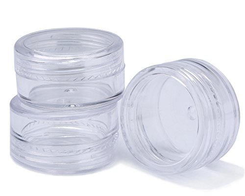 niceEshop 50 Pieces Travel Cosmetic Sample Containers 5 Gram Plastic Pot Jars