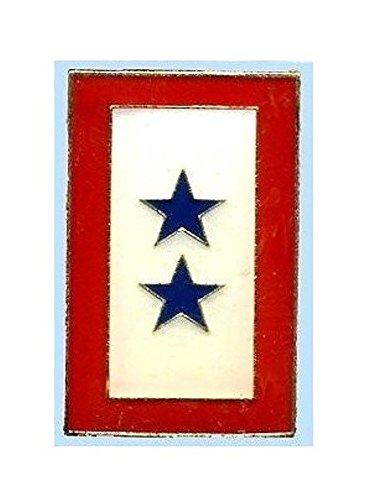 (Service Two Star Lapel Pin Hat Tie Tac Brass CHN)