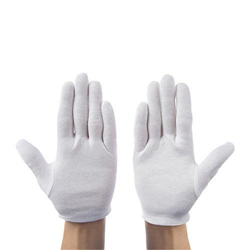 ECYC 12 Pairs White Cotton Gloves for Coin Jewelry Silver Inspection, Small Size