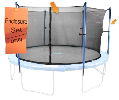Trampoline Enclosure Set, Fits 16 FT. Round Frames, for 3 or 6 W-Shaped Legs -Set Includes: Net, Poles & Hardware Only ()