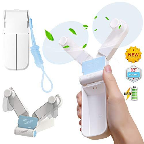 - ANUOEXGO Double-Headed Transformable Fan, Mini Personal Fan, Rechargeable USB Fan, Portable Handheld Fan, 2 Speed Table Fan, Ultra-Quiet Pocket Fan for Traveling Camping (Bonus Landyard)