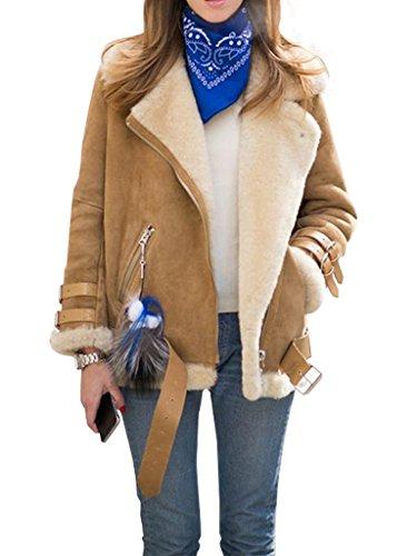Womens Faux Shearling Jacket (Simplee Apparel Women's Lapel Zip Up Faux Fur Shearling Biker Jacket Aviator Coat Outwear)