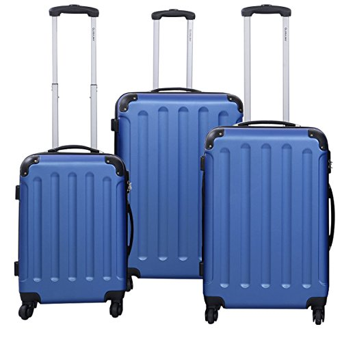 3 Pcs Luggage Travel Set Bag ABS+PC Trolley Suitcase Blue by tamsun