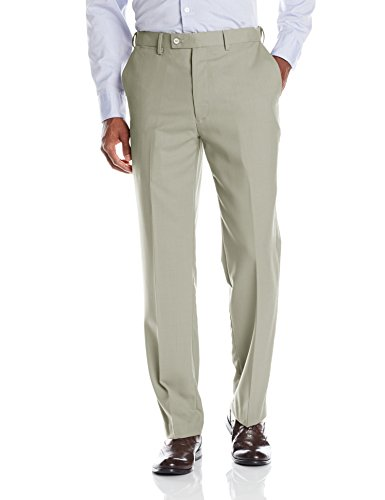 (Louis Raphael Men's Luxe 100% Wool Flat Front Dress Pant with Hidden Extension Waist Band, Sand, 44W x 30L)