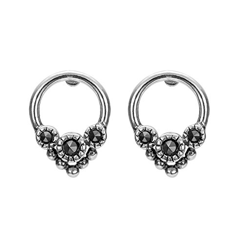 Boma Jewelry Sterling Silver Marcasite Circle Bead Stud Earrings