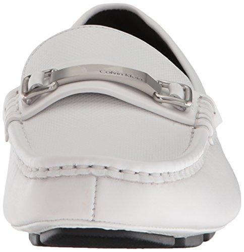 Calvin Klein Mens Maddix Driving Style Mocassino Bianco