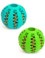 Dog Toy Ball, Nontoxic Bite Resistant Toy Ball for Pet Dogs Puppy Cat, Dog Pet Food Treat Feeder Chew Tooth Cleaning Ball Exercise Game IQ Training Ball 7CM,(Pack of 1), Assorted