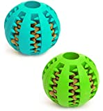 Dog Toy Ball, Nontoxic Bite Resistant Toy Ball for Pet Dogs Puppy Cat, Dog Pet Food Treat Feeder Chew Tooth Cleaning Ball Exercise Game IQ Training Ball 7CM, 1 Piece - Blue or Green