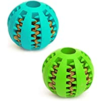 Dog Toy Ball, Nontoxic Bite Resistant Toy Ball for Pet Dogs Puppy Cat, Dog Pet Food Treat Feeder Chew Tooth Cleaning…