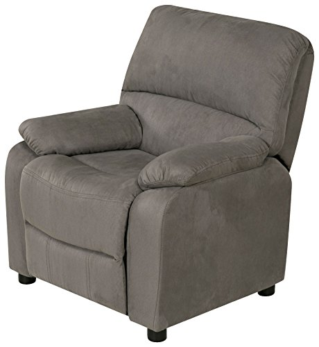 Relaxzen USB Charging Contemporary Kids Recliner with Storage Arms, Gray -