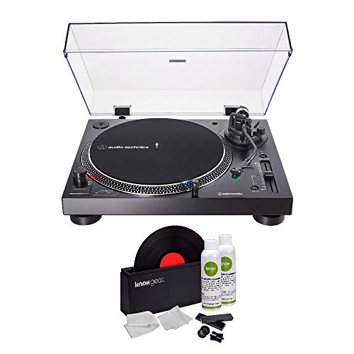 (Audio-Technica AT-LP120XUSB Direct-Drive USB Turntable (Black) with Knox Gear Vinyl Record Cleaner Kit)