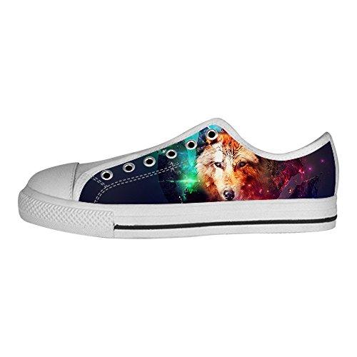 In I Alto Ginnastica Lupo Men's Le Di Custom Lacci Luna E Tela Canvas Da Delle Shoes Scarpe Sopra wvqYU