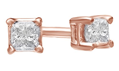 Princess Cut White Natural Diamond Solitaire Stud Earrings in 14k Solid Rose Gold (0.1 Ct) (Princess Ct 0.1 Diamond)