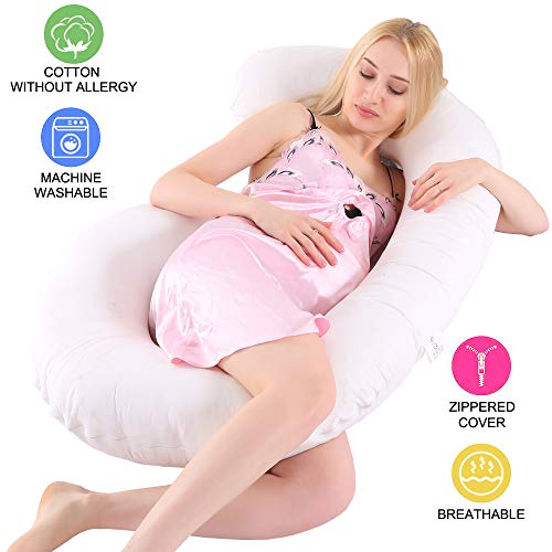 BooTaa Full Body Pregnancy Pillow, Maternity Pillow for Pregnant Women, Removable Washable Cotton Cover, Back Support Pain Relief C Shape Body Pillow for Sleeping Baby Nursing Feeding Belly Massage
