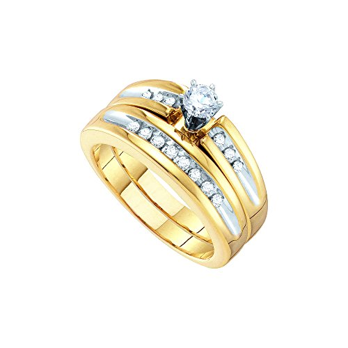 10kt White Gold His & Hers Round Diamond Solitaire Two-tone Matching Bridal Wedding Ring Band Set 1/2 Cttw by JawaFashion