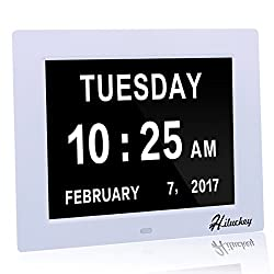 [Newest Version] Day Clock,Hiluckey Digital Calendar Alarm Elderly Extra Large Desk Clock With 5 Daily Alarms & 3 Medicine Reminder for Impaired Vision & Dementia Alzheimer's