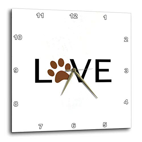 (3dRose dpp_180483_1 Love with Brown Paw Print for O. Animal Lover Pet Owner Pawprint Gift-Wall Clock, 10 by 10-Inch)