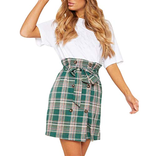 (Colmkley Women's Casual Plaid Bandage High Waist Button A-Line Pencil Mini Skirt Green)