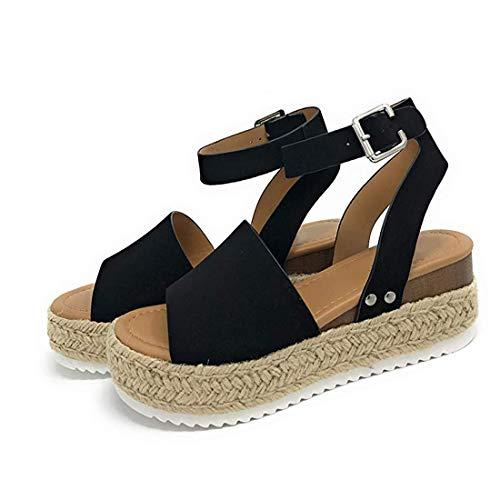 Colleer Flatform Sandals for Women, Espadrilles Wedge Sandal Open Toe Ankle Strap Sandals (Black, Brow, Grey) (7 M US= EU 38, Black)