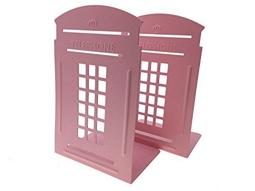 Ahkea Directly Telephone Booth Bookend Decorative Book End Non Skid Heavy Metal Bookends Books Organizer for Home Office School (Pink)