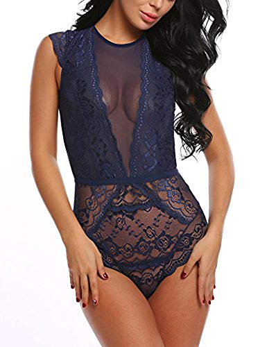 ADOME Womens Teddy Lingerie Lace Bodysuit Mini Chemise Dark Blue