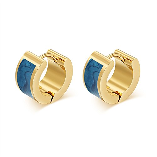 MG Jewelry Stainless Steel Gold Plated Men Women Hoop Hinged Hoop Huggie Earring,Blue (Hot Dollar Costumes)