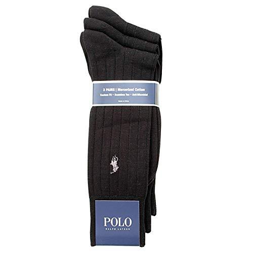 Polo Ralph Lauren Mens Dress Socks 3 Pair (6-12 1/2) (10-13, Black Ribbed)