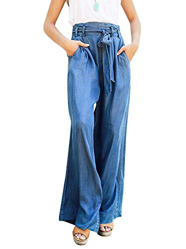 Klousilover Womens High Waist Belted Palazzo Pant Wide Leg Casual Loose Denim Pants -