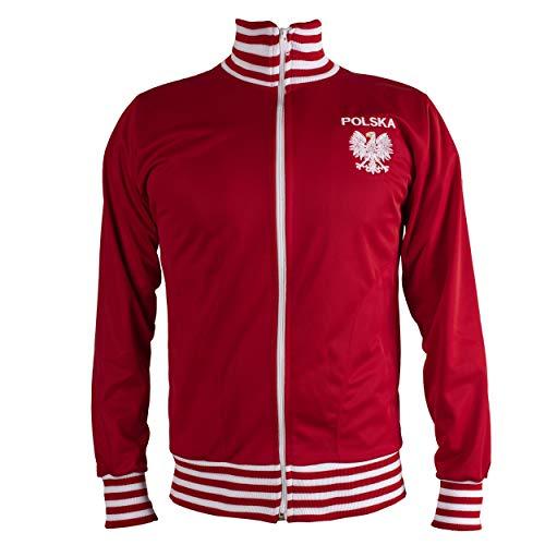 Poland/Polska Jacket Retro Football Tracksuit Zipped Jacket Men Top - L Red