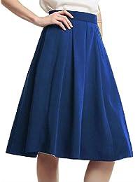 Lutratocro Womens Todas Coinciden con Cintura Alta Falda Plisada de Color Puro una Linea de Swing