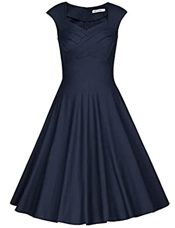 MUXXN Women's 1950s Vintage Retro Capshoulder Party Swing Dress (S, Blue)