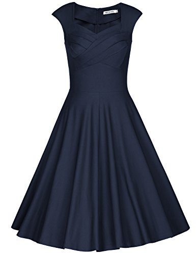 (MUXXN Women's 1950s Vintage Retro Capshoulder Party Swing Dress (XL, Blue))