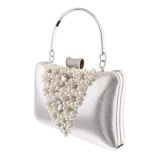Gazechimp Bolsa de Embrague Bolso de Mano Monedero Perlas Diamante de Imitación para Novia Multiosos - Oro plata