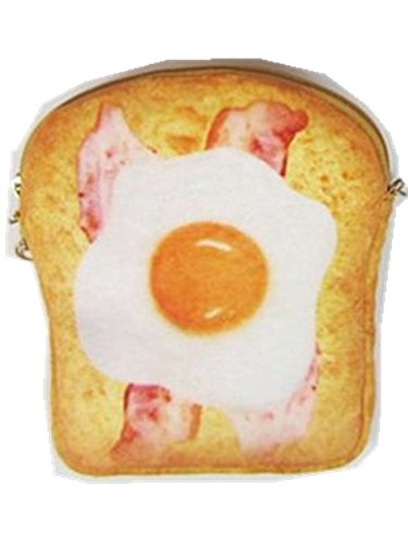3D Simulation Egg Toast Bread Crossbody Purse Wallet Pouch Mobile Phone Bag