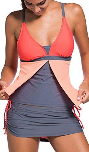 Due Mare Arancione E Costumi Piscina Tankini Di Bagno Donna Sportivo Da Bikini Oliphee Pezzi 04wqH5Ox