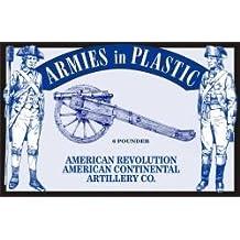 American Revolution Continental Artillery Co. Crew (5) w/Cannon 1/32 Armies in Plastic