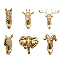 joyMerit 6Styles Animals Head Coat Rack Hook, Behind The Door Porch Coat Hook Creative Wall Hanging Hook Decorative Hook Key Hook