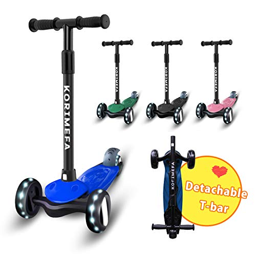 Kick Scooter for Kids 3 Wheel Scooter for Toddlers Girls Boys Scooter Durable Aluminum Frame 4 Adjustable Height Lean to Steer with PU Flashing Wheels for Children from 2 to 10 Years Old (Blue)