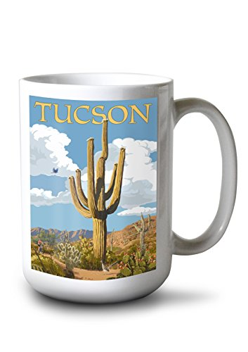 Tucson Coffee Mug - Lantern Press Tucson, Arizona - Saguaro and Roadrunner (15oz White Ceramic Mug)