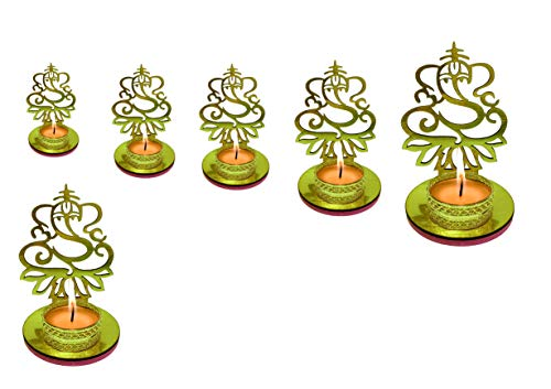 4 Pc Set Lord Ganesha Shape Diwali Shadow Diya. Deepawali Traditional Decorative Diya in Lord Ganesha Shape for Home/Office.Religious Tea Light Candle Holder Stand. Diwali Decoration Diwali Gift -