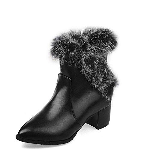 AgooLar Women's Low-top Zipper Soft Material Kitten-Heels Pointed Closed Toe Boots Black RJXtoI