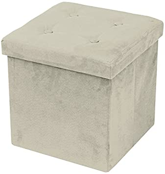 sorbus faux suede storage ottoman collapsible with button lid