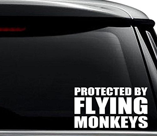 Protected by Flying Monkeys Decal Sticker For Use On Laptop, Helmet, Car, Truck, Motorcycle, Windows, Bumper, Wall, and Decor Size- [6 inch] / [15 cm] Wide / Color- Gloss White