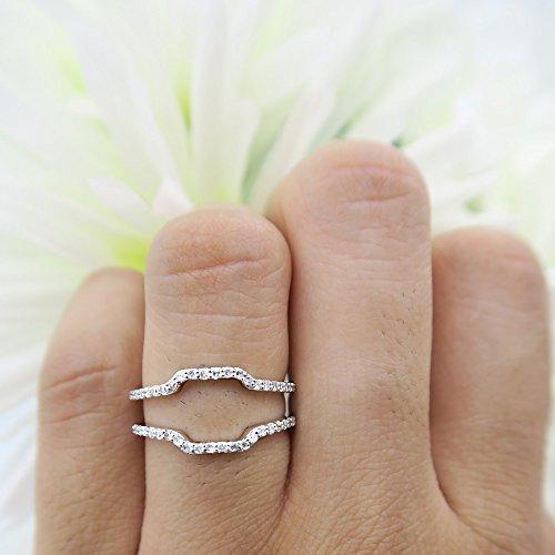 Dazzlingrock Collection 0.25 Carat (ctw) 10K White Diamond Wedding Band Enhancer Guard Ring 1/4 CT, White Gold, Size 7.5 by Dazzlingrock Collection (Image #6)