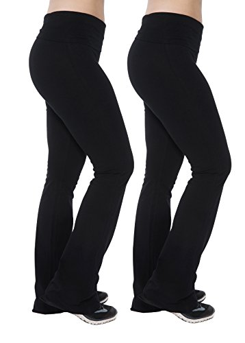 Unique Active Wear Styles Women's Yoga Pants Fold over Waistband Flared Boot Leg Leggings, 2-pack Black/Black, M