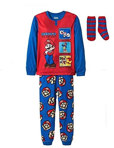 Super Mario Boys Gaming Jersey and Fleece Pajama and Sock Set (Medium 7/8)