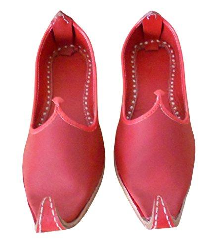 ethnique indien Rouge main la de chaussures fait kalra cuir traditionnel Creations hommes à xXqn6I