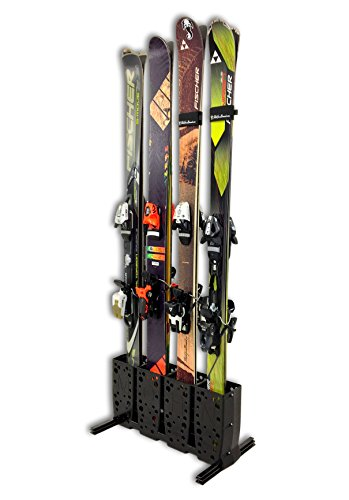 StoreYourBoard Ski Storage Rack, 4 Pair Freestanding Skis Floor Mount, Wide Skis