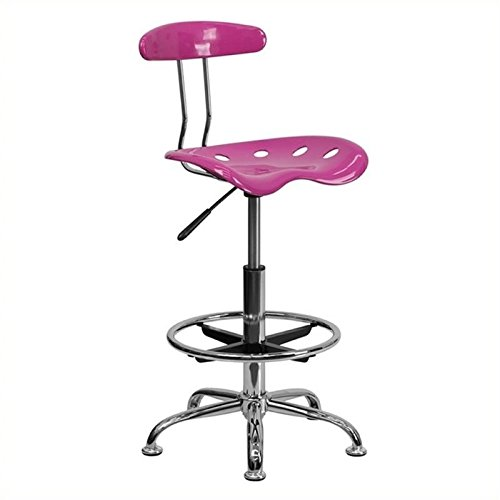 Scranton and Co Adjustable Chrome Drafting Chair in Pink